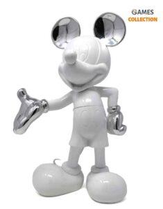 Микки Маус Дизайнерская фигурка лакированный белый и серебристый металлик 30 см
