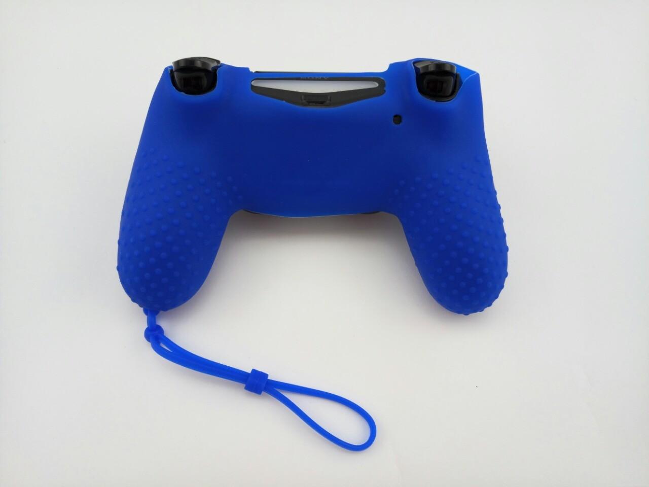 Силиконовый чехол для джойстика PS4 с ремешком(Синий)