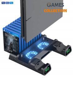 Мультифункциональная Док-Станция для Playstation 4 / PS4 SLIM / PRO с 2 с LED зарядкой для 2-х геймпадов Dualshock и охлаждением консоли от DOBE (TP4-19076)