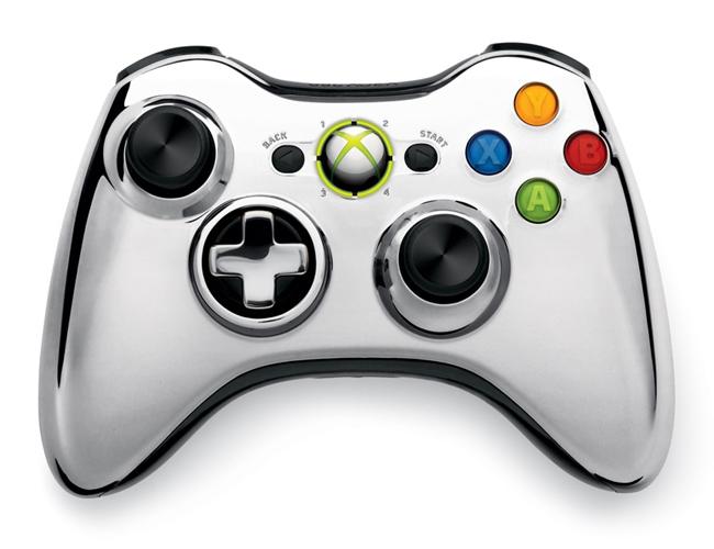 Геймпад беспроводной (Xbox 360) Wireless Controller Chrome Silver-thumb