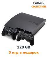 PS3 Slim Б.У 120 Gb+5 игр+2 Джойстика-thumb