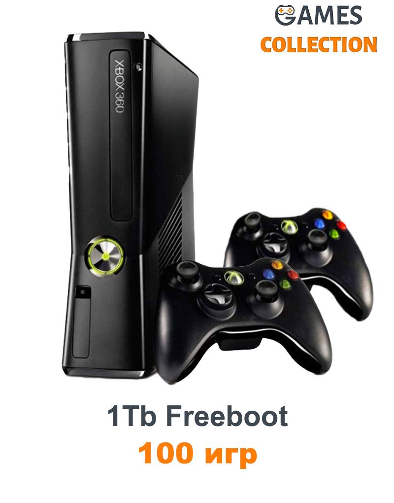 Xbox 360 Slim/E 1 TB Freeboot 100 игр+2-й джойстик-thumb
