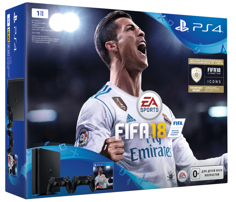 Консоль Sony PS4 1TB + 2 DS4 + FIFA18 Slim-thumb