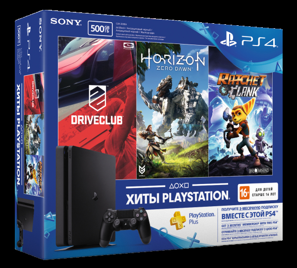 Консоль Sony PS4 Slim 500Gb Black DC+HZD+RC+PSPlus 3М-thumb