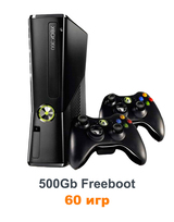 Xbox 360 Slim/E 500 Gb Freeboot 60 игр+2 джойстик-thumb
