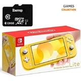 Nintendo Switch Lite Grey/Yellow+Micro SD 128GB (Прошита SX Core + 20 игр)-thumb