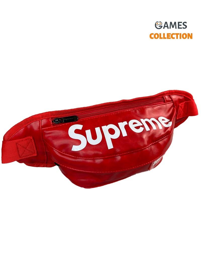 Сумка-бананка Supreme Эко-кожа (Красная)-thumb