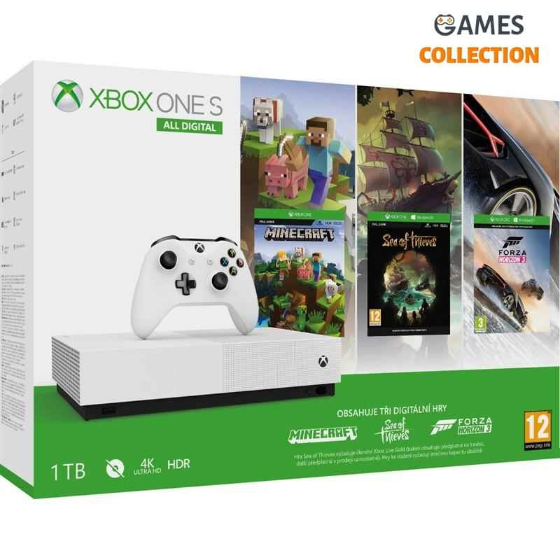 Microsoft Xbox ONE  S 1TB All-Digital edition+Minecraft+Sea of The Theaves+Forza Horizon 3-thumb