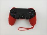 Силиконовый чехол для джойстика PS4 с ремешком(Красный)-thumb