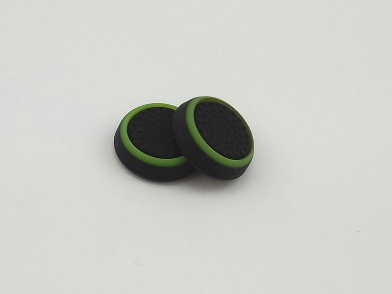 PS4/XOne/PS2/PS3/X360 накладки на ручки аналогов (черно-зеленые)-thumb