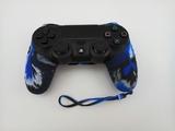 Силиконовый чехол для джойстика PS4 с ремешком (Черно синий)-thumb