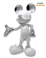 Микки Маус Дизайнерская фигурка лакированный белый и серебристый металлик 30 см-thumb