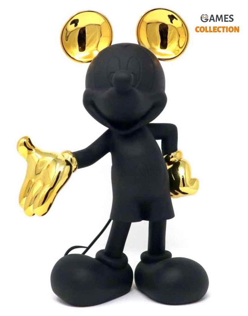 Микки Маус Дизайнерская фигурка матовый черный и золотой металлик 30 см-thumb