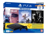Sony PlayStation 4 Slim 1Tb (Black) + 3-месячная подписка PSPlus + 3 игры (Detroit, Horizon Zero Dawn, The Last Of Us)-thumb