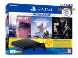 Sony PlayStation 4 Slim 1Tb (Black) + 3-месячная подписка PSPlus + 3 игры (Detroit, Horizon Zero Dawn, The Last Of Us)-thumb