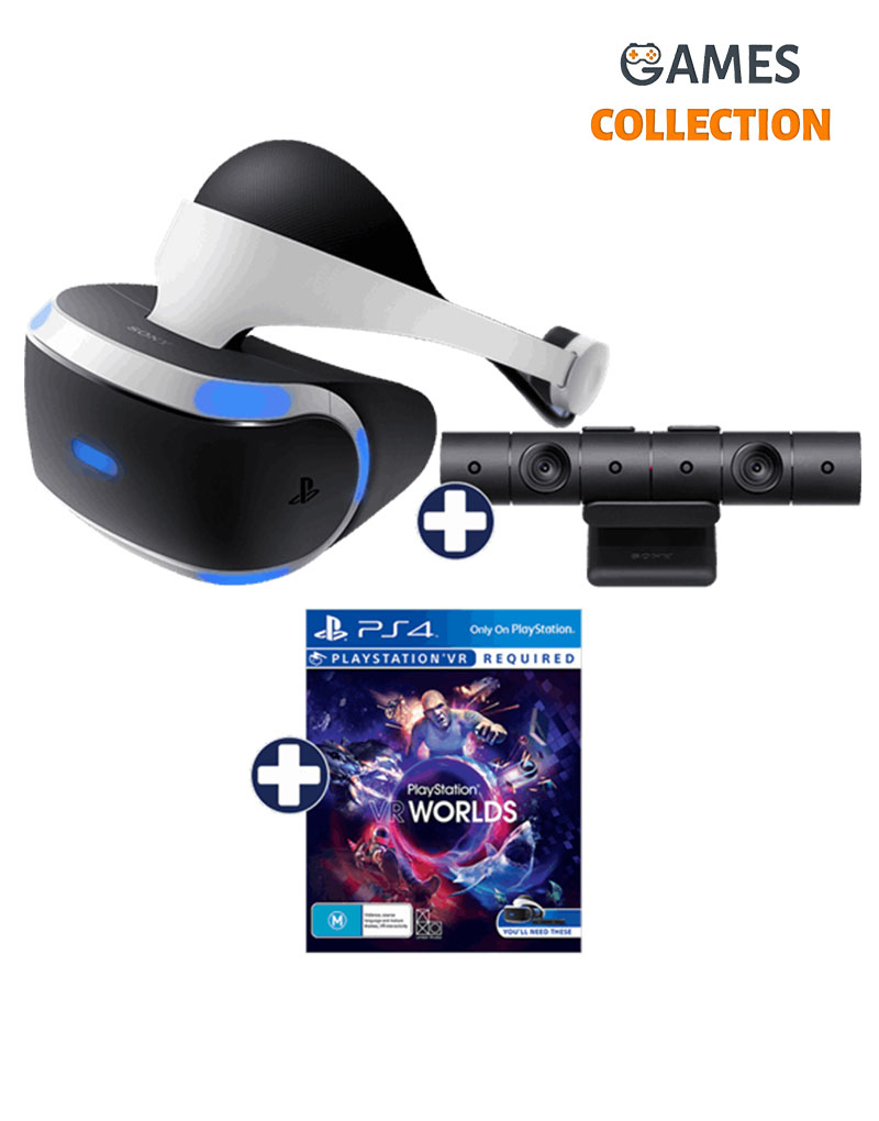 PS4 VR 1 + Camera + Worlds (Ваучер) (Б/у)-thumb