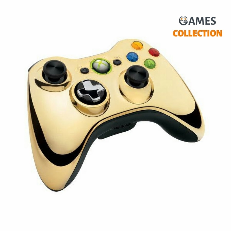 Геймпад беспроводной (Xbox 360) Wireless Controller Chrome Gold-thumb