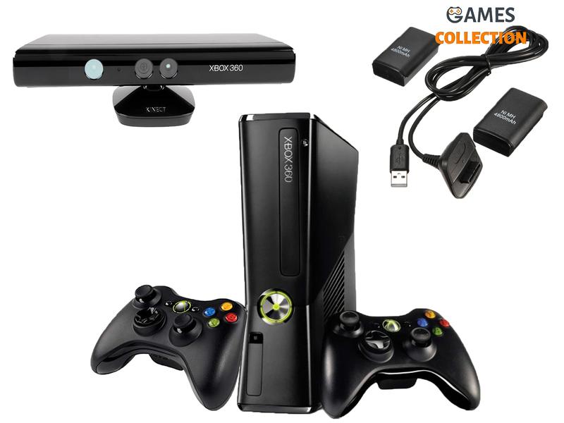 Microsoft Xbox 360 Slim 250Gb (FREEBOOT + Kinect + 2 контроллера) (Б/У)-thumb