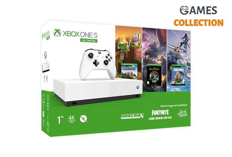 Microsoft Xbox ONE S 1TB All-Digital Edition + Minecraft + Sea of The Theaves + Fortnite-thumb